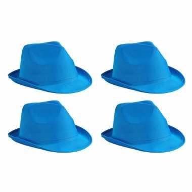 X stuks trilby feesthoedje blauw volwassenen