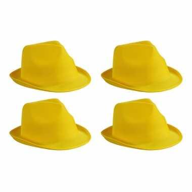 X stuks trilby feesthoedje geel volwassenen