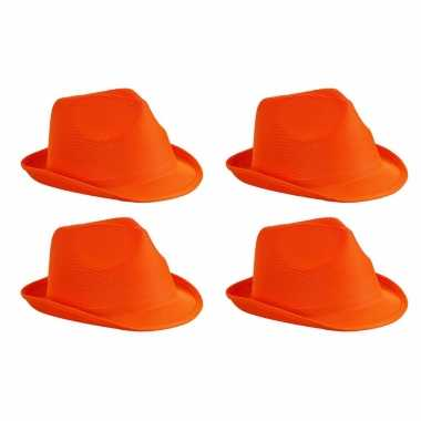 X stuks trilby feesthoedje oranje volwassenen