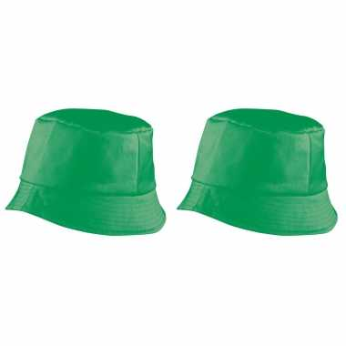 X stuks vissershoedje/zonnehoedjes groen volwassenen