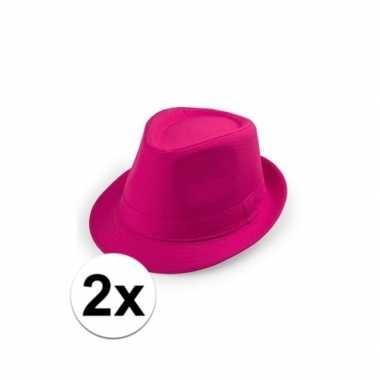 X toppers roze trilby hoedjes