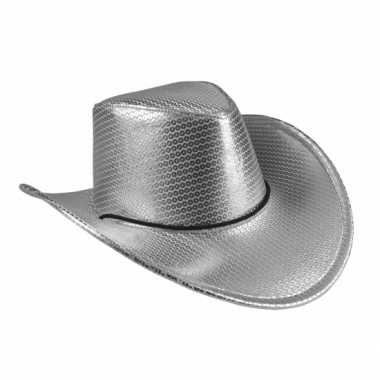 Zilveren cowboyhoed howdy pailletten volwassenen