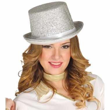 Zilveren glitter hoge hoed volwassenen