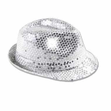 Zilveren pailletten verkleed hoedje led licht volwassenen