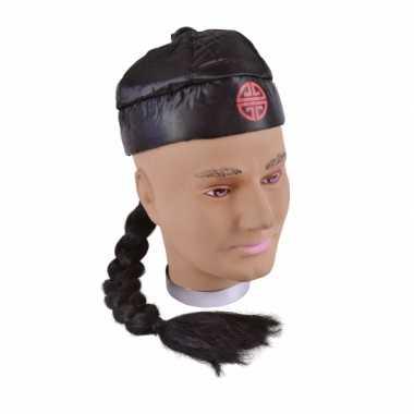 Zwart Chinees hoedje vlecht