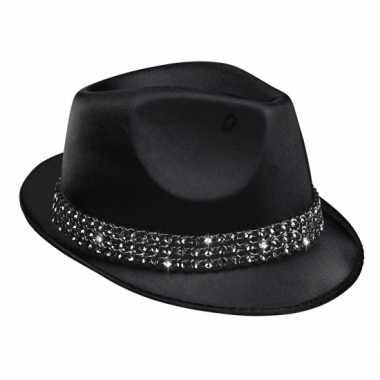 Zwart popstar hoedje met diamant studs