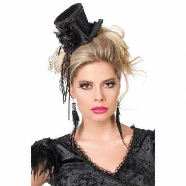 Zwart steampunk hoedje dames