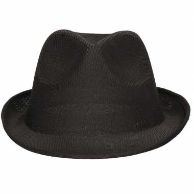 Zwart trilby verkleed hoedje/gleufhoed volwassenen
