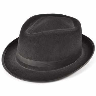 Zwarte al capone hoed vilt volwassenen