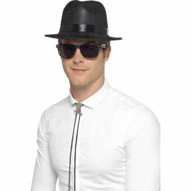 Zwarte Blues Brothers hoed plastic