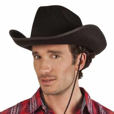 Zwarte cowboyhoed rodeo vilt volwassenen