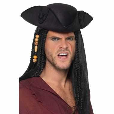 Zwarte driepunts piratenhoed volwassenen