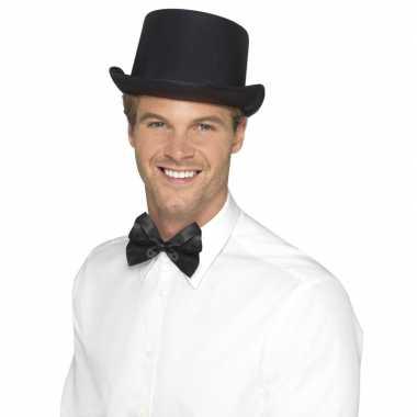 Zwarte hoge hoed satijn look heren