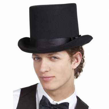 Zwarte luxe hoge hoed heren