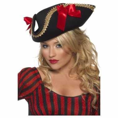 Zwarte piraten driesteek verkleed hoed volwassenen