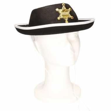 Zwarte sheriff hoed kinderen