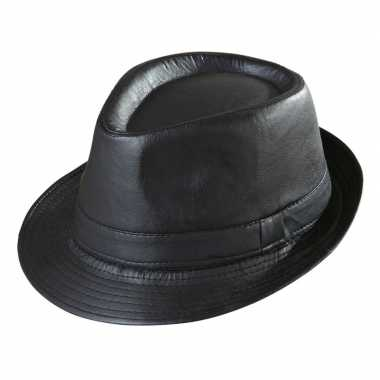 Zwarte trilby hoed lederlook volwassenen