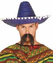 Blauwe sombrero mexicaanse hoed volwassenen