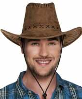 Bruine cowboyhoed elroy lederlook volwassenen