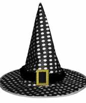 Halloween zwarte heksenhoed stippen volwassenen