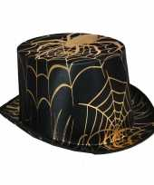 Halloween zwarte hoge hoed gouden spin