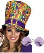 Hippie accessoires verkleedset hoed bril