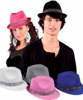 Kobalt blauwe popstar hoedje met studs