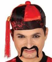 Set stuks rood zwart chinees mandarin verkleed hoedje