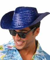 Toppers blauwe cowboy strohoed volwassenen