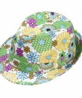 Trilby hoedje met bloemen en pailletten