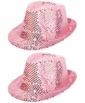 X stuks roze glitter verkleed hoedje pailletten