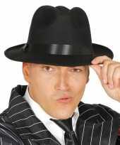 X stuks zwarte verkleed gangster maffia trilby gleufhoed volwassenen 10290693