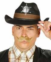 Zwarte cowboyhoed sheriff badge volwassenen