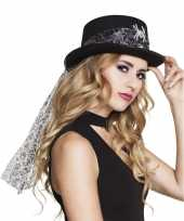 Zwarte hoed glitter spin dames